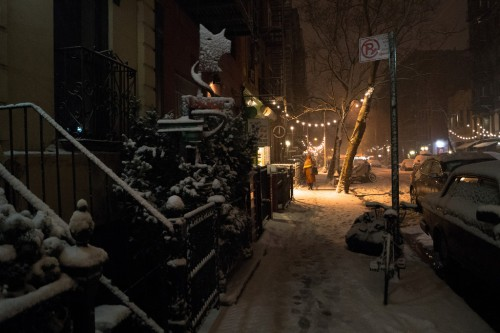 New York Winter Night - East Village Snow-XL